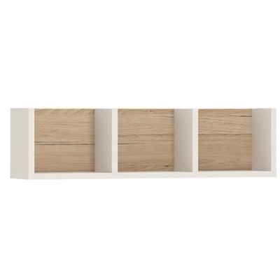 4KIDS 70 cm sectioned wall shelfin light oak and white high gloss