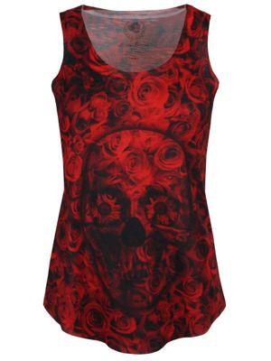 Monkey Business Skull Roses Women's Vest