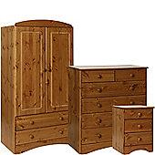 Scandinavian Pine Bedside - 2+4 Chest - 2 Door 2 Drawer Combi Robe Package