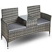 VonHaus Rattan Loveseat Bench – Outdoor Glass-topped Table & 2 Companion Seats - Grey
