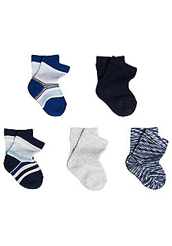 F&F 5 Pair Pack of Striped Socks - Multi