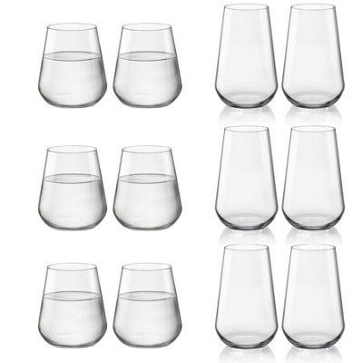 Bormioli Rocco Inalto Uno Hiball Cocktail Glass & Large Whiskey Tumbler - Set of 12