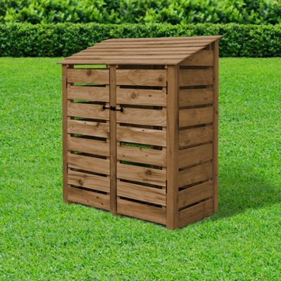 Cottesmore slatted wooden log store with doors - 6ft