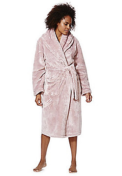 F&F Piped Plush Dressing Gown - Pink
