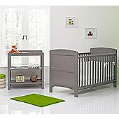 OBaby Grace 2 Piece Nursery Furniture Set with Mattress - Taupe/Grey