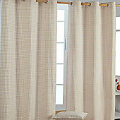 Homescapes Cotton Gingham Check Beige Ready Made Eyelet Curtains, 137 x 182 cm