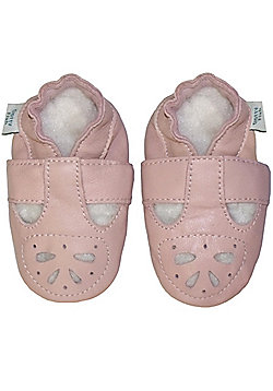 Dotty Fish Soft Leather Baby Shoe - Pink Mary-Jane Sandal - Pink