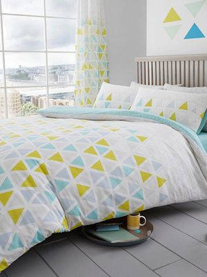 Geo Triangle Single Duvet Cover and Pillowcase Set - Teal