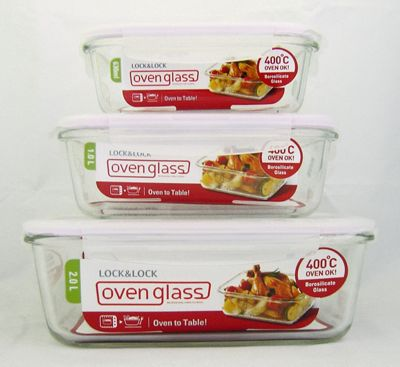 Buy Lock Lock Ovenglass Set of 3 Rectangle Glass Containers from