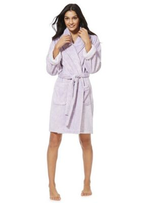 F&F Marl Breakfast Club Slogan Dressing Gown Lilac M