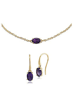 Gemondo 9ct Yellow Gold Amethyst Drop Earring & 19cm Bracelet Set