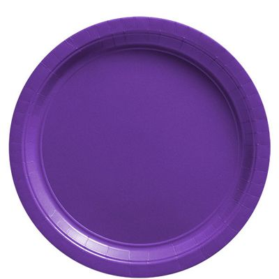 New Purple Plates - 22.8cm Paper Party Plates, Pack of 50