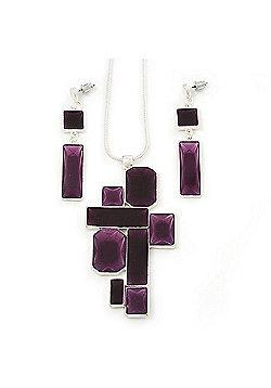 Grape Soda Purple 'Summer Shapes' Necklace & Drop Earrings Set In Matte Silver Plating - 40cm Length/ 7cm Extension