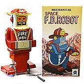 Fireman - Retro Tin Collectable Robot Ornament - Red