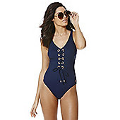 F&F Luxury Lace Up Swimsuit - Navy