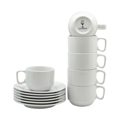 White Stacking Cup / Saucer Set - 200ml (7oz) - 6 Cups & 6 Saucers