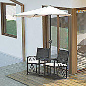 Outsunny 2 Seater Rattan Chair Set Wicker w/ Sun Umbrella Parasol Drink Tray (Black)