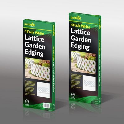 4 Pack Flexible Lattice White Garden Lawn Path Edging Border Fence Panel