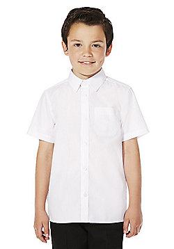 F&F School 2 Pack of Boys Easy Iron Short Sleeve Shirts - White