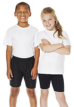 F&F School 2 Pack of Unisex T-Shirts with As New Technology - White