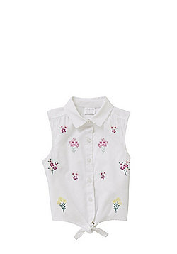 F&F Floral Embroidered Knot Front Sleeveless Blouse - White/Multi
