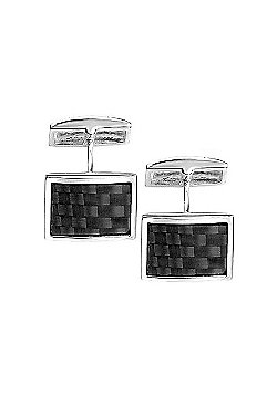 Fred Bennett Carbon Fibre Sterling Silver Square Cufflinks