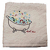 Homescapes Egyptian Cotton Embroidered Bath Time White Face Cloth