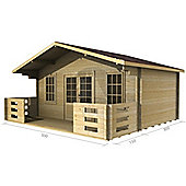 16ft x 10ft (5m x 3m) Home Log Cabin - Double Glazing (70mm Wall Thickness)