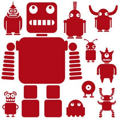 Robots and Aliens Wall Sticker Set, Dark Red
