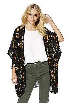 Vero Moda Floral Print Kimono - Black