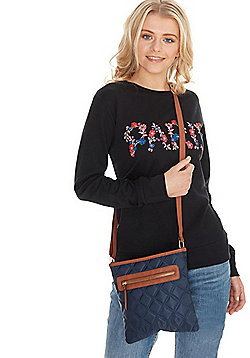 F&F Quilted Cross-Body Bag Navy One Size