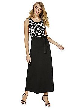 Feverfish Contrast Lace Maxi Dress - Black