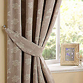 Homescapes Natural Linen Curtain Tie Backs Pair Pasted Floral Design