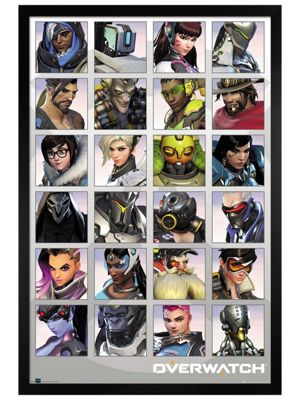 Overwatch Black Wooden Framed Character Portraits Poster 61 x 91.5cm