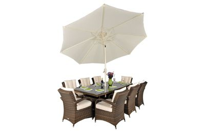 Arizona Rattan Garden Furniture 8 Seat Rectangular Glass Top Table Dining Set with Free Parasol with Base, Dust Cover, Cushions & 1 Yr Warranty