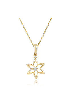 Gemondo 9ct Yellow Gold 0.04ct Diamond Spring Starflower Pendant on Chain