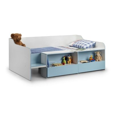 Happy Beds Stella Wood Kids Low Sleeper Cabin Storage Bed with Orthopaedic Mattress - Blue and White - 3ft Single
