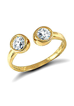 Jewelco London 9ct Solid Gold CZ set torque style Toe Ring