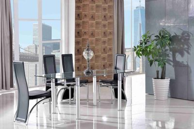 Verona Glass 120 - 180 cm Dining Table with 6 Black Alisa Chairs