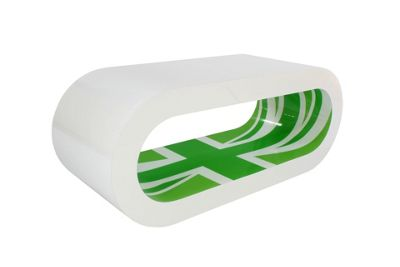 Hoop Coffee Table / Tv Stand Medium - White - Green Union Jack