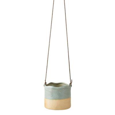 Villa Collection Denmark Wave Design Hanging Plant Flower Pot in Aqua Blue