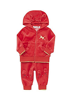 Babaluno Velour Mouse Hoodie and Joggers Set - Red