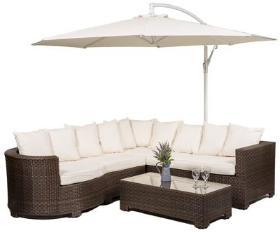 marbella 6 seat rattan corner sofa set with glass top table including parasol and waterproof dust