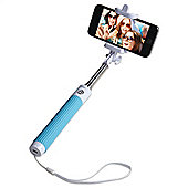 Groov-e GVSS01BL Wireless Selfie Stick Extendable Self-Portrait Monopod with Built-In Bluetooth Remote Shutter- Blue and White