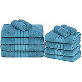 Luxury 100% Egyptian Cotton 12 Piece Face Hand Bathroom Jumbo Towel Bale Set - Teal