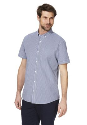 F&F Button-Down Collar Gingham Short Sleeve Shirt Navy/White XL
