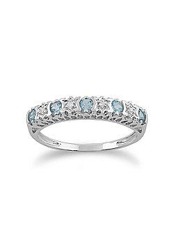Gemondo Topaz Ring, 9ct White Gold 0.30ct Blue Topaz & Diamond Half Eternity Ring