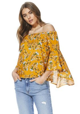 Izabel London Floral Print Bell Sleeve Bardot Top Orange Multi 14