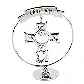 Chrome Plated Circle Ring With Cross - Christening