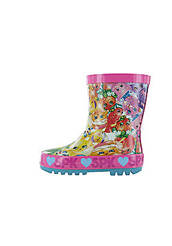 Girls Shopkins Pink Thick Rubber Wellies Snow Boots UK Child Various Sizes - Pink